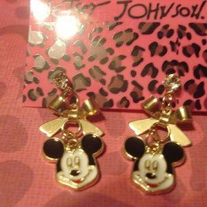 Betsey Johnson Mickey Mouse Bow Dangling Earrings